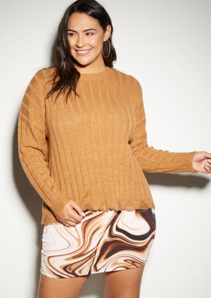 plus honey brown destructed hem sweater - Main Image