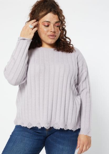 plus lavender destructed hem sweater - Main Image