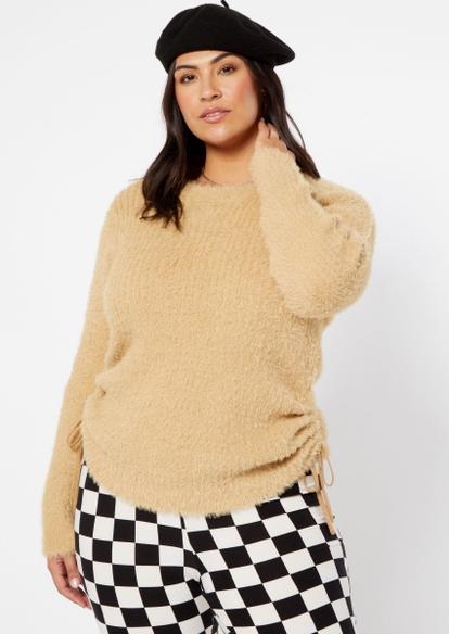 plus brown ribbed eyelash knit ruched side sweater - Main Image