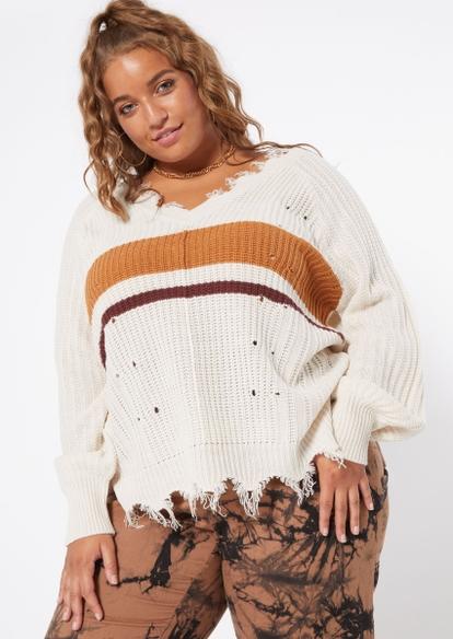 plus cream stripe bar back destructed fringe hem sweater - Main Image