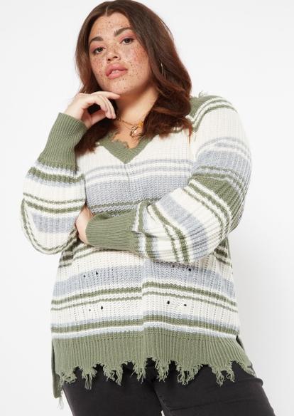 plus olive striped bar back destructed hem sweater - Main Image