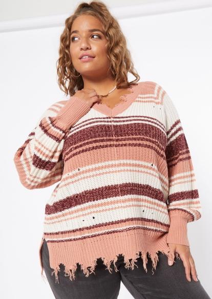 plus burgundy striped bar back destructed fringe hem sweater - Main Image
