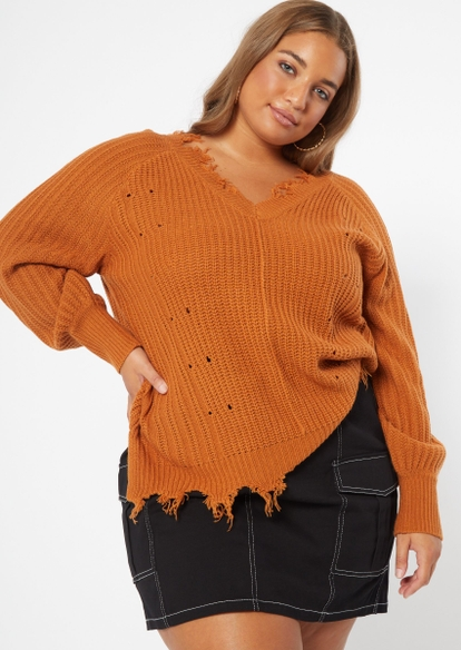 plus burnt orange bar back destructed hem sweater - Main Image