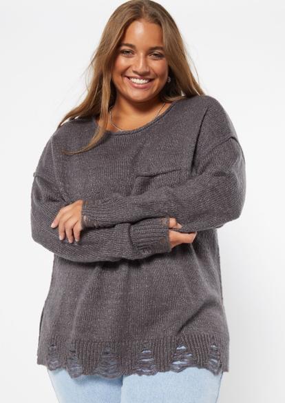 plus dark gray slouchy destructed hem pocket chest sweater - Main Image