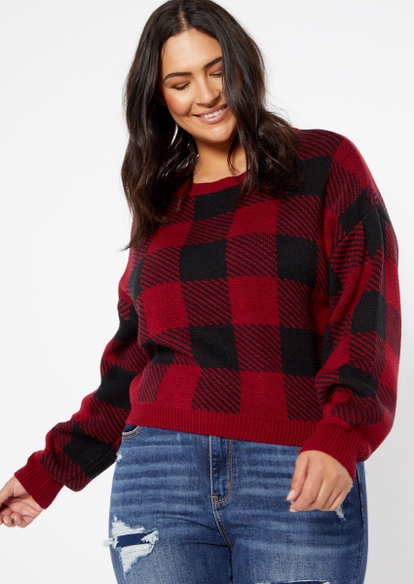 plus red flannel crop sweater - Main Image