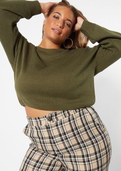 plus olive drop shoulder crop sweater - Main Image