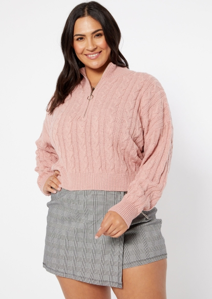 plus pink cable knit half zip crop sweater - Main Image