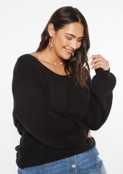 plus black twist back pullover sweater - Main Image