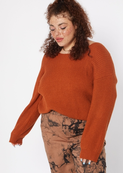 plus red terracotta twist back pullover sweater - Main Image