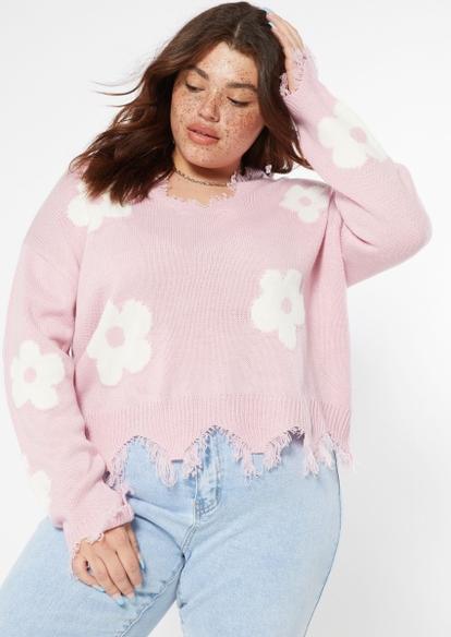 plus light pink daisy print destructed hem sweater - Main Image