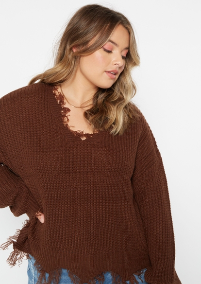 plus brown destructed hem sweater - Main Image
