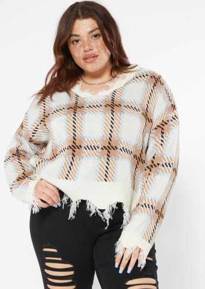plus tan plaid print destructed hem sweater - Main Image