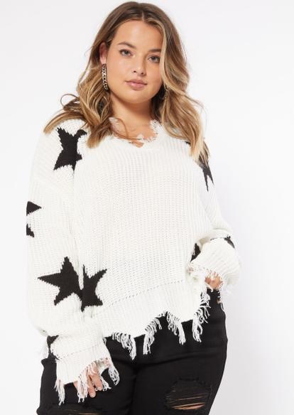 plus white star print destructed hem sweater - Main Image