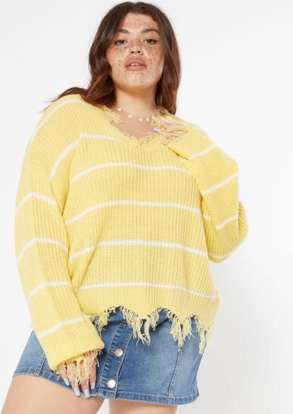 plus yellow striped destructed hem sweater - Main Image