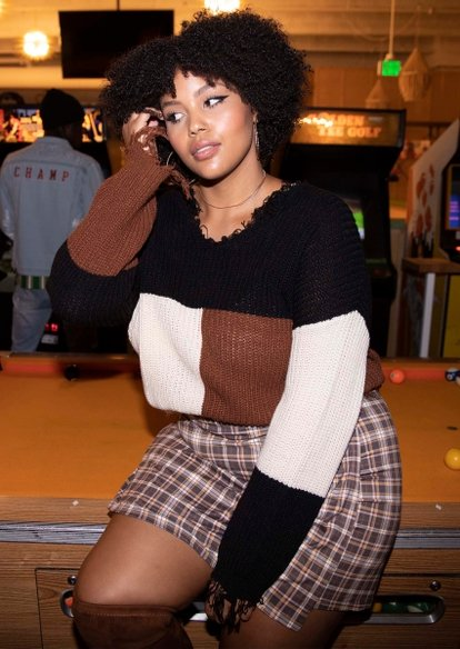 plus neutral colorblock destructed hem sweater - Main Image