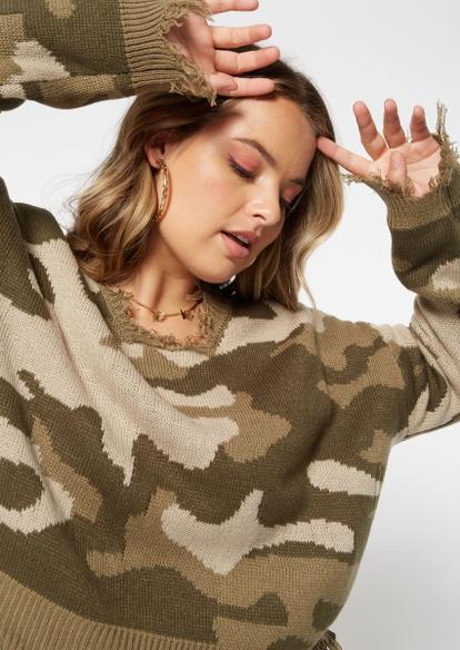 plus camo print destructed hem sweater - Main Image