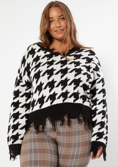 plus houndstooth print destructed hem sweater - Main Image