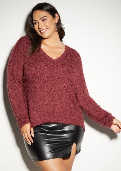 plus burgundy eyelash knit sweater - Main Image