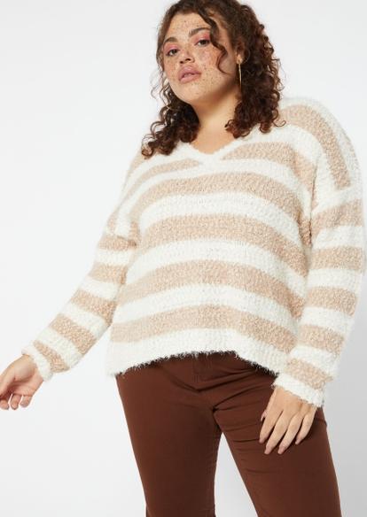 plus tan eyelash knit sweater - Main Image
