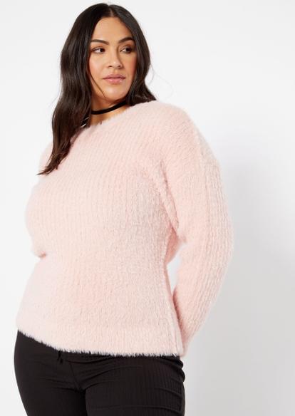 plus pink ribbed eyelash knit sweater - Main Image