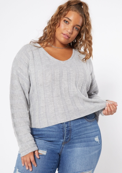 plus gray ribbed knit crop sweater - Main Image