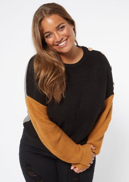 plus neutral colorblock button shoulder sweater - Main Image