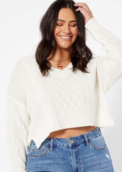plus white cable v neck crop sweater - Main Image