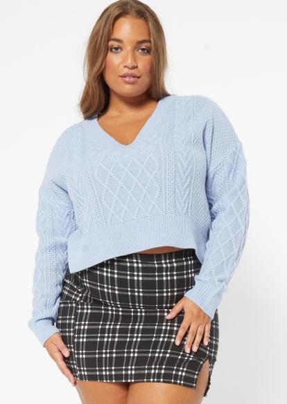 plus blue cable v neck crop sweater - Main Image