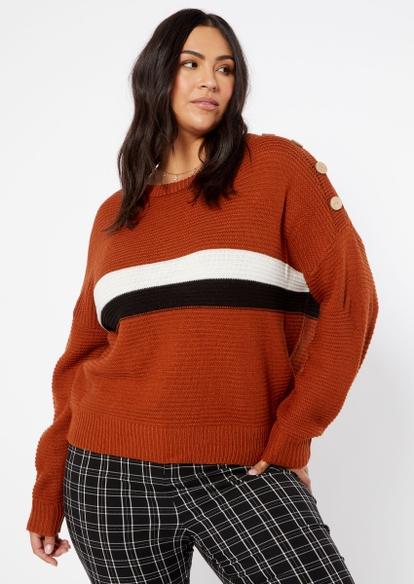 plus brown colorblock stripe button shoulder sweater - Main Image