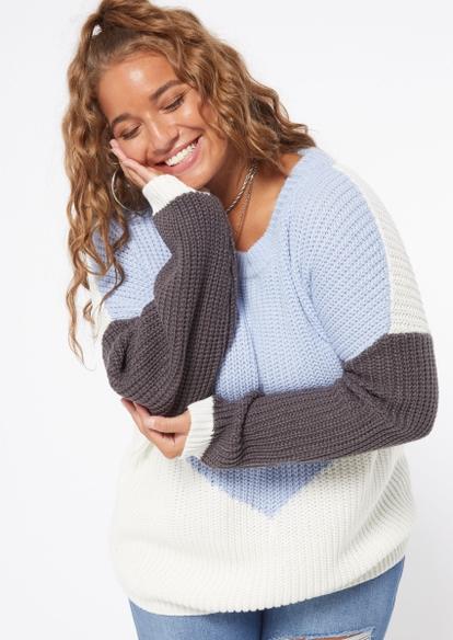 plus blue chevron pullover sweater - Main Image