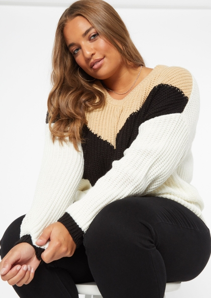 plus taupe chevron pullover sweater - Main Image