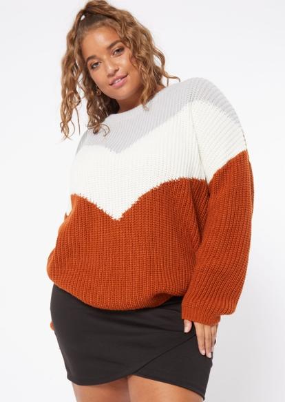plus burnt orange chevron pullover sweater - Main Image