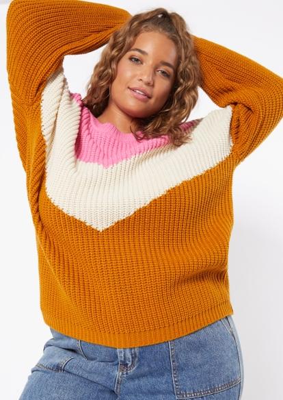 plus pink chevron pullover sweater - Main Image
