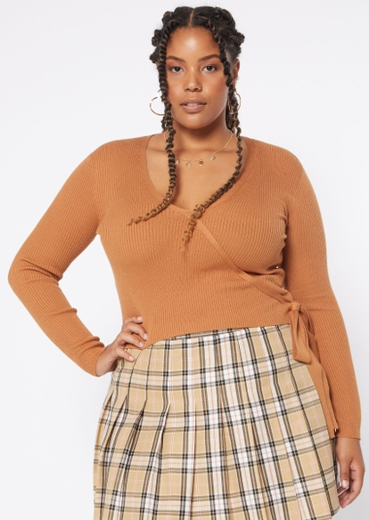 plus tan surplice sweater - Main Image