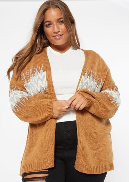 plus brown open front jacquard cardigan - Main Image