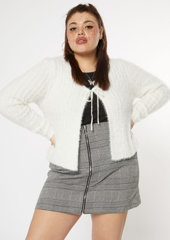 plus ivory fluffy tie front cardigan - Main Image