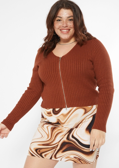 plus brown double zip cardigan - Main Image