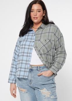plus blue two tone plaid flannel shirt - Main Image