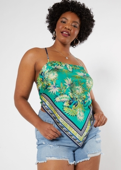 plus teal tropical print strappy back satin top - Main Image