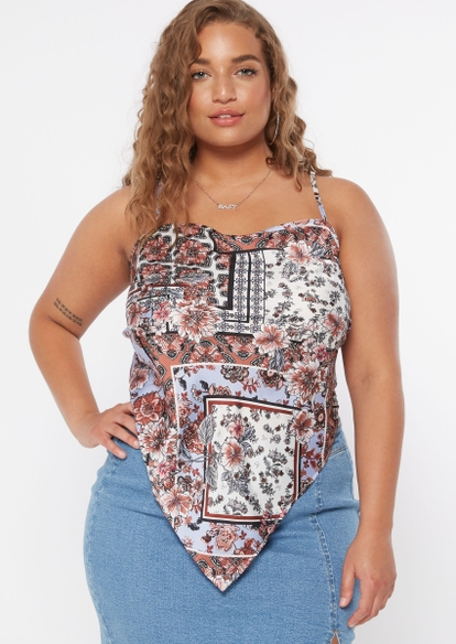 plus paisley floral print strappy tied back scarf top - Main Image