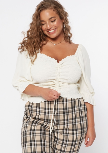 plus white ruched smock front long sleeve top - Main Image