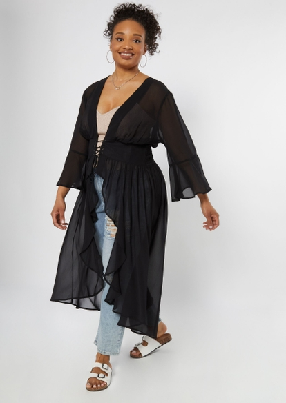 plus black grommet lace up kimono - Main Image