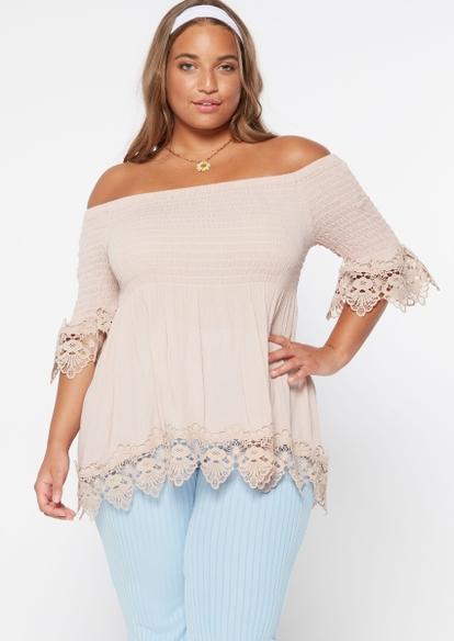 plus ivory off the shoulder crochet top - Main Image