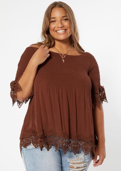 plus brown off the shoulder crochet top - Main Image