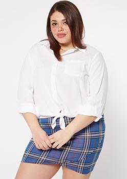 plus white tie front button down shirt - Main Image