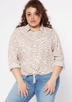 plus tiger print tie front button down shirt - Main Image