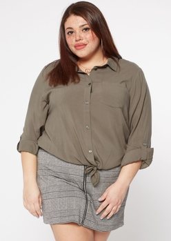 plus olive tie front button down shirt - Main Image