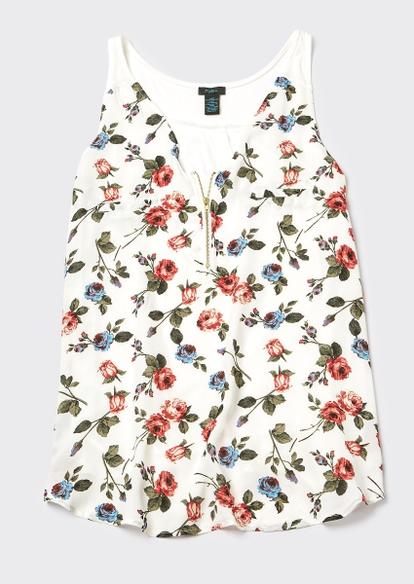 plus ivory floral print zip front tank top - Main Image