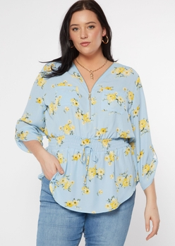 plus blue floral print peplum blouse - Main Image