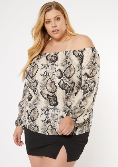 plus snakeskin print bubble sleeve off the shoulder top - Main Image
